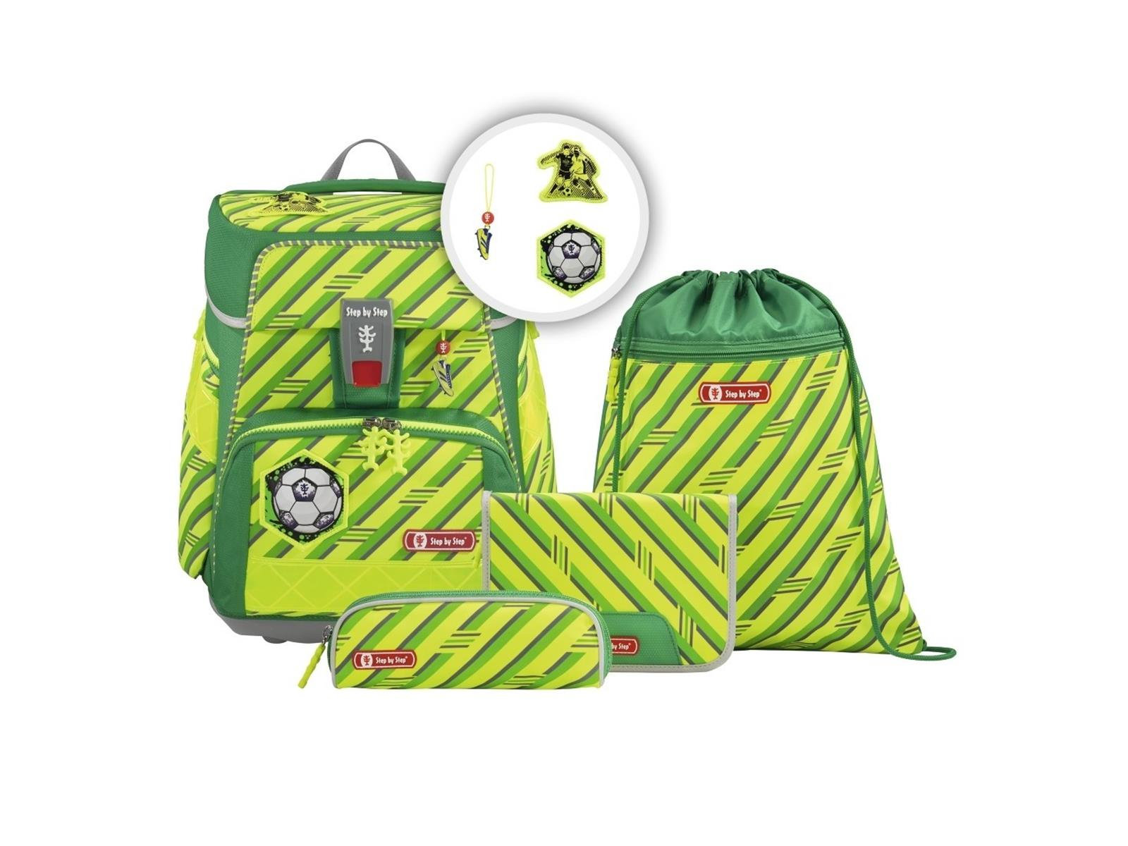 Step by Step Space Neon Schulranzen-Set 5tlg. Funky Soccer