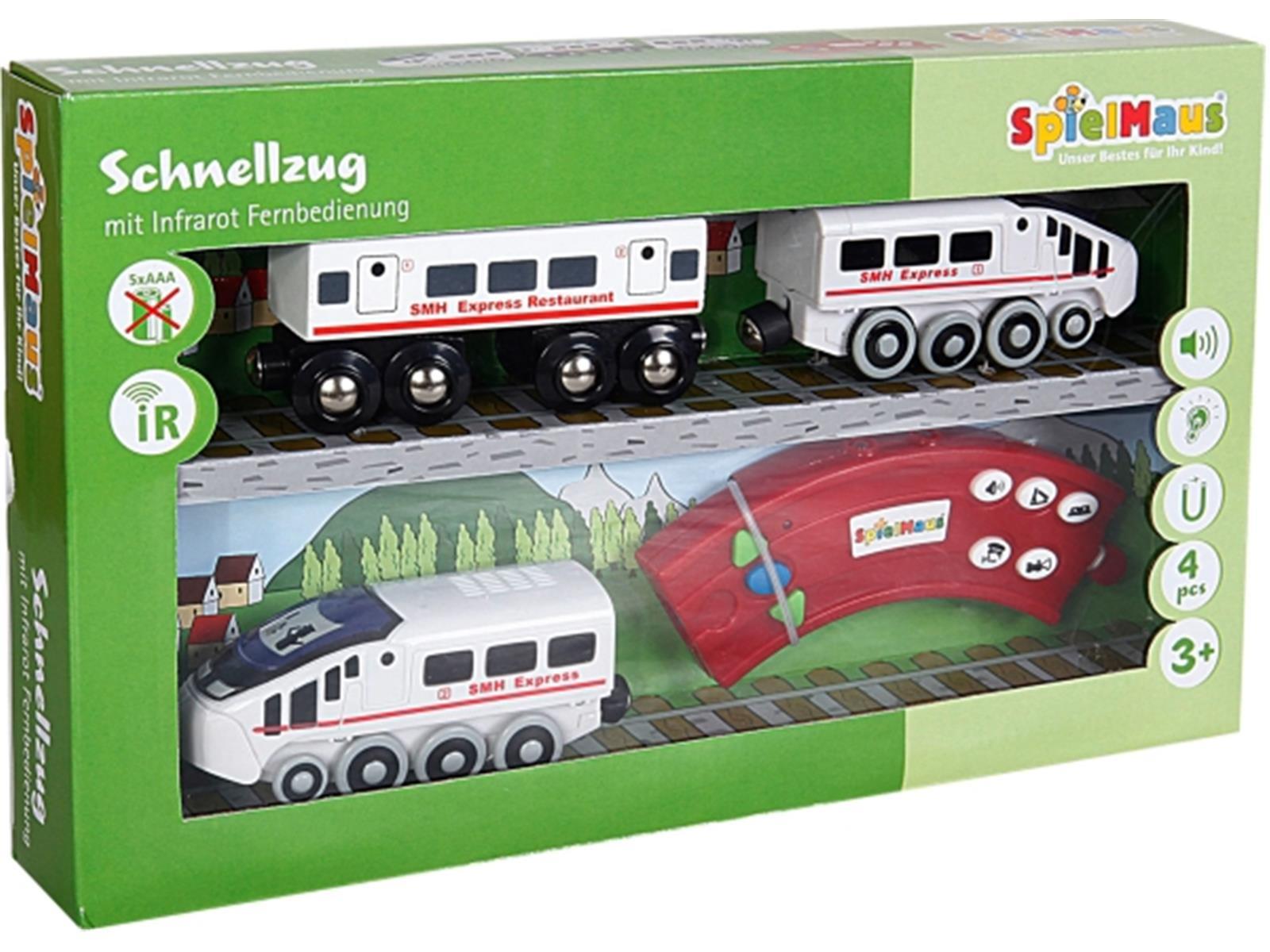 SpielMaus Holz Infrarot Zug mit Wagon
